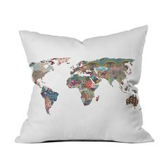 Map of the World Pillow Cover