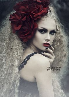 Dream by Amanda Diaz-Love the foggy looking background and bright roses and poofy hair.