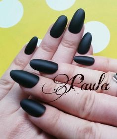 OVAL NAILS Short / medium Full Cover False 20 black matt hand painted uk  PAULA