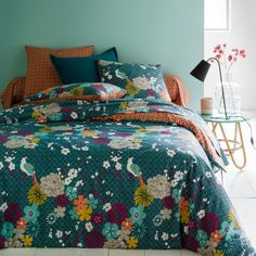 Miss China Pure Cotton Duvet Cover La Redoute Interieurs A beautiful combination of Japanese motifs and shimmering colours. Reversible duvet cover with a floral print on the front, small printed motifs on. Cute Duvet Covers, Boho Duvet Cover, 100 Cotton Duvet Covers, Duvet Cover Sets, Teal Bedding Sets, Black Bedding, Luxury Bedding Sets, Comforter Sets, King Comforter