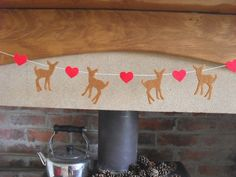Baby Deer Heart Garland Woodland Garland in felt by FeltWitch, £15.00