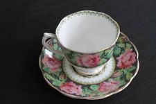Vintage Royal Albert China Black Pink Roses Chintz Needle Point Teacup & Saucer