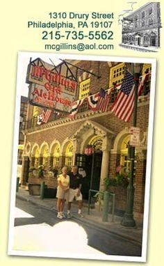 McGillin's Olde Ale House - 1310 Drury Street, Philadelphia PA 19107 Philadelphia Bars, Philadelphia History, Pub Food, Restaurant Food, Philly Restaurants, Legal Business, Best Happy Hour, Old Bar, Dive Bar