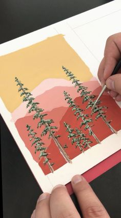 Painting Mountains and Pine Trees by Philip Boelter 🎨🌲 Gouache is my favorite medium. I love how vibrant it is and how smooth it goes on. I think another favorite thing about gouache is that you can layer on top… Continue Reading → Aesthetic Painting, Aesthetic Art, Aesthetic Drawings, Aesthetic Videos, Aesthetic Fashion, Gouache Painting, Watercolor Paintings, Easy Watercolor, Watercolor Artists