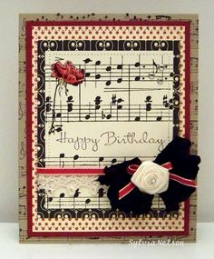 Musical Birthday Cards Unique Items Similar to Happy Birthday A Music and Roses Notecard Musical Birthday Cards, Musical Cards, Happy Birthday Cards, Birthday Music, Beautiful Handmade Cards, Pretty Cards, Paper Cards, Diy Cards, Card Tags