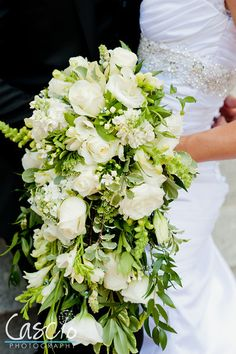 Luxurious Cascading Flowers - lush greenery & white roses | Exquisite Wedding Bouquet