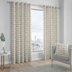 Palma - Cotton Pair Of Eyelet Curtains Brambly Cottage Colour: Beige, Panel Size: Width 117 x Drop Ready Made Eyelet Curtains, Wide Curtains, Hanging Curtains, Curtains Dunelm, Buy Curtains Online, Made To Measure Blinds, Curtain Patterns, Blue Pattern Curtains, Beautiful Curtains