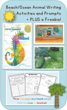 Beach/Ocean Animal Writing Activities and Prompts Summer writing topics are one of my favorites to teach. Writing Topics, Writing Activities, Writing Resources, Writing Ideas, Kindergarten Writing, Literacy, Ocean Activities, Play Based Learning, Classroom Themes