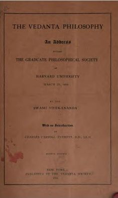 File:Vedanta Philosophy An address before the Graduate Philosophical Society 1901 cover page.jpg