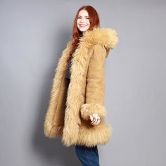 70s SHEEPSKIN COAT / Shaggy Shearling Fur  Soft Suede Jacket with HOOD. And a cute redhead wearing it!