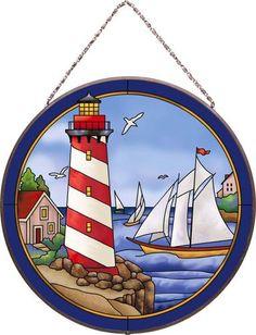 Lighthouse Summer Shores Joan Baker Designs Round Art Glass Panel Ocean AP446 | eBay