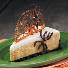 Spiderweb Pumpkin Cheesecake Recipe -This spiced cheesecake makes an appearance on my Halloween table every year. Folks get a kick out of the candy web and chocolate spiders. — Bev Kotowich, Winnepeg, Manitoba