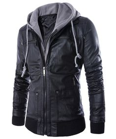Faux Twinset Rib Splicing Hooded Long Sleeve Slimming Modish PU Leather Jacket For Men
