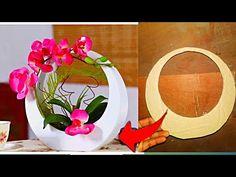 cardboard flower vase easy | cement flower pot making at home | newspaper flower vase making at home - YouTube Flower Vase Making, Flower Vases, Flower Arrangements, Newspaper Flowers, Paper Flowers Diy, Cement Art, Cement Crafts, Cement Flower Pots, Plastic Bottle Crafts
