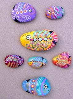 painted rocks with fish