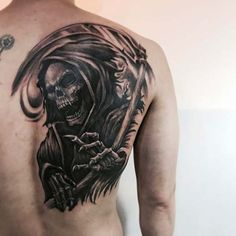 grim reaper shoulder n half back piece is cool Tattoo Designs, Skull Tattoo Design, Skull Tattoos, Body Art Tattoos, Sleeve Tattoos, Tattoo Life, Tattoo Tod, Death Tattoo, Tatuaje Grim Reaper