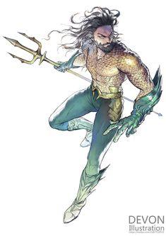 Aquaman by Devon Pan Arte Dc Comics, Marvel Comics, Aquaman Comics, Mera Dc Comics, Aquaman Movie 2018, Aquaman Film, Devon, Poseidon, Martian Manhunter