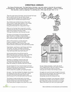 """How many similies can you find in this Christmas poem? Get into the holiday spirit with a holiday classic, """"The Night Before Christmas""""! Reading Comprehension Activities, Speech Activities, Writing Activities, Learning Resources, Teacher Resources, Teaching Ideas, Holiday Poems, Christmas Poems, Poems For Middle School"""