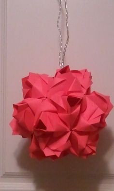 3d origami  kusudama ornament ROSES with LED lights by akvees, $20.00