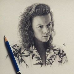 One Direction Fan Art, One Direction Drawings, One Direction Pictures, Harry Styles Long Hair, Harry Styles Cute, Harry Styles Pictures, Pencil Art Drawings, Cool Art Drawings, Art Drawings Sketches