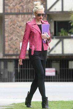 Pink jacket with black everything else