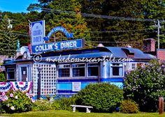 The Collin's Diner  North Canaan CT Vintage Historic Dining Car Cobalt Blue Scenic 5 x 7 photography print by Tjo