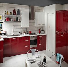 B&Q Cooke & Lewis - Raffello High Gloss Red Slab. Kitchen-compare.com - Home - Independent Kitchen Price Comparisons