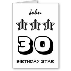 30th Birthday or ANY AGE Striped Stars Custom Name Cards   To see more customizable striped Jaclinart gift items:   http://www.zazzle.com/jaclinart+striped+gifts?st=date_created&ps=120  #stripes #striped #pattern #jaclinart #design #create