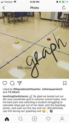 Life-sized coordinate graph, toss bean bags to name points Student Teaching, Math Teacher, Fifth Grade Math, School Classroom, Future Classroom, Secondary Math, Math Activities, Math Games, Elementary Math