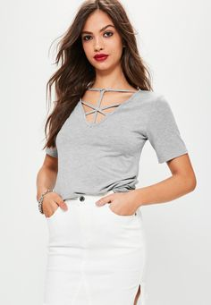 Missguided - Cross front Harness Ring Detail T Shirt Grey Marl