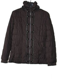 $748 ELIE TAHARI New Colt Brown Ashly Pleated Leather Trim Zip Front Jacket M