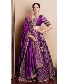Lehenga Colour Combinations For Winter Brides! Sonam Kapoor in eggplant lehenga. See more on See more on Indian Lehenga, Indian Gowns, Red Lehenga, Purple Lehnga, Indian Bride Dresses, Pakistani Dresses, Indian Bridal Outfits, Indian Bridal Fashion, Indian Designer Outfits