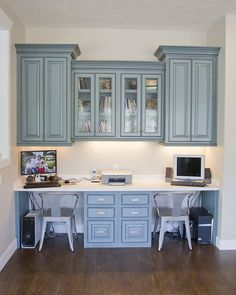 Remember to put drawer cabinets in middle rather than on sides. More desk space for two work stations.
