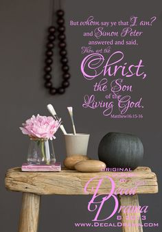 """But whom say ye that I am? and Simon Peter answered and said, Thou Art the Christ the Son of the Living God. Matthew 16:15-16  wall decal: approximately 14""""w x 16""""h (36cm x 43cm)  This order is for the vinyl wall decal only.  *Like* us on Facebook for the latest updates! -->  https://www.fa..."""