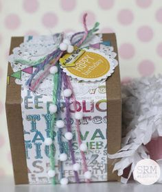 Add strands of SRM pastel jute twine to a pretty wrapped kraft box for a festive and pretty wrapped gift. Birthday Box, Happy Birthday, Kraft Boxes, Jute Twine, Beautiful Gift Boxes, Pastel, Paper Crafts, Gift Wrapping, Stickers