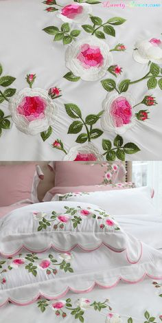 Queen set includes one queen duvet cov Pillow Embroidery, Kurti Embroidery Design, Hand Embroidery Designs, Hand Embroidery Videos, Embroidery Flowers Pattern, Rose Embroidery, Rose Duvet Cover, Bed Cover Design, Designer Bed Sheets