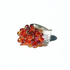 Garnet & Fire Quartz Cluster Ring / Sterling Silver /