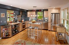 L förmig moderne küchen holzmöbel tisch barhocker stahl