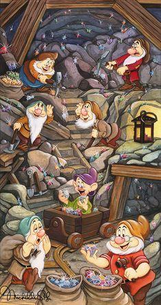 Scrapbook Layout Disney Snow White - Snow White and the Seven Dwarfs The Shine of a Million Gems. Disney Pixar, Disney Magic, Disney Movies, Walt Disney Cartoons, Disney Characters, Disney Princess Snow White, Snow White Disney, Snow White Movie, Snow White Art