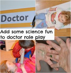 Fun science ideas to make learning fun with Doctor Role Play, includes making a stethoscope, making a fake lung, learning about the body and much more. 3 Year Old Preschool, Body Preschool, Preschool Science, Preschool Lessons, Science For Kids, Activities For Kids, Science Ideas, Doctor Role Play, Community Helpers Preschool