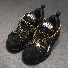 5625b36c6a2 Gucci Flashtrek Crystal Embellished Trainers in Black