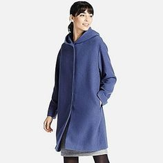 WOMEN SOFT WOOL BLEND HOODED COAT, BLUE, medium