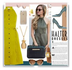 """""""Halter Dress Contest"""" by deathcab4cuul ❤ liked on Polyvore featuring Karen Millen, Sergio Rossi, Michael Kors, Gucci, FOSSIL and vintage"""