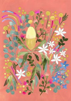 This a fine art print of an original paper collage featuring Australian Native Flowers by Laura Blythman. Titled - WE ALL LIVE HERE Limited Edition. Australian Native Flowers, Native Australians, Pigment Ink, 2 Colours, Illustrators, Nativity, Fine Art Prints, Illustration Art, Paper