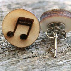 Tolle Ohrstecker aus Holz, Geschenk für Musiker, Holzschmuck Shops, Wood Art, Cufflinks, Stud Earrings, Accessories, Jewelry, Craft, Ideas, Laser Engraving
