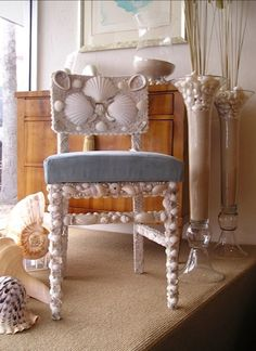 Seashell Chandelier, Fireplace Surrounds, Sea Shells, Kendall, Dining Chairs, Interior, Furniture, Home Decor, Decoration Home