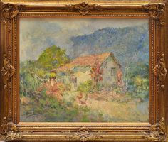 Armando Vianna - Jardins de Andorinha com casa do artista - ost - medindo 36 cm por 45 cm - assinado