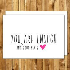Naughty Card - Love Card - Anniversary Card - Card For Him - Birthday Card Boyfriend - Funny Birthday Card - You Are Enough by InANutshellStudio on Etsy