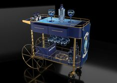 Bombay Sapphire posm Food Cart Design, Food Truck Design, Pizza Store, Bar Trolley, Bombay Sapphire, House Layout Plans, Coffee Wine, Mobile Bar, Moet Chandon