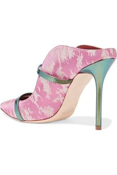 Malone Souliers - Maureen Metallic Leather-trimmed Satin-jacquard Mules - Baby pink - IT37.5